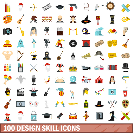 100 design skill icons set in flat style for any design vector illustration
