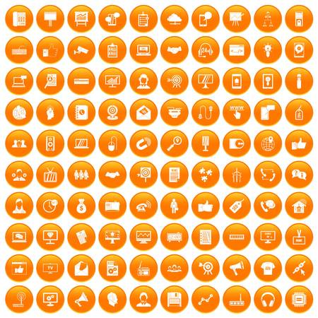100 data exchange icons set in orange circle isolated vector illustration