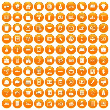100 credit icons set in orange circle isolated vector illustration