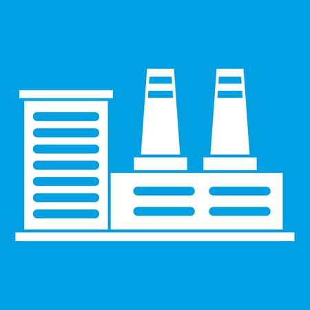 powerhouse: Power plant icon white Illustration