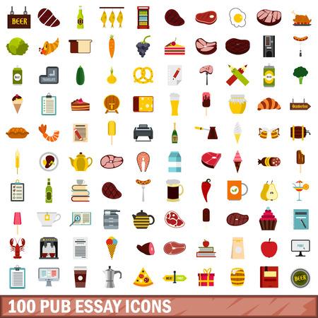 100 pub essay icons set, flat style
