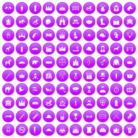 100 horsemanship icons set purple Ilustração