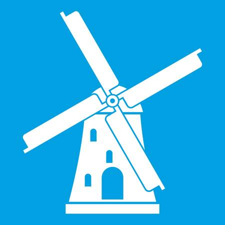 Ancient windmill icon white