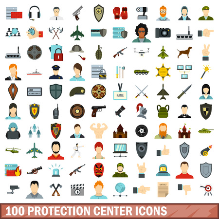 security monitor: 100 protection center icons set, flat style Illustration