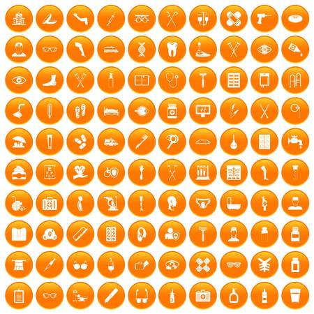 100 disabled healthcare icons set in orange circle isolated vector illustration
