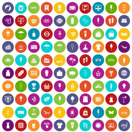100 summer shopping icons set in different colors circle isolated vector illustration