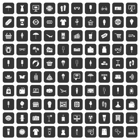 100 summer shopping icons set in black color isolated vector illustration Ilustração