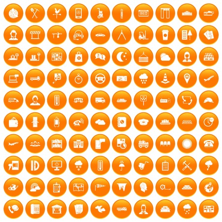 100 dispatcher icons set orange Illustration