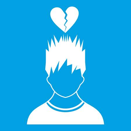 Man with broken red heart over head icon white isolated on blue background vector illustration Illustration