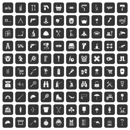 drill: 100 tackle icons set black