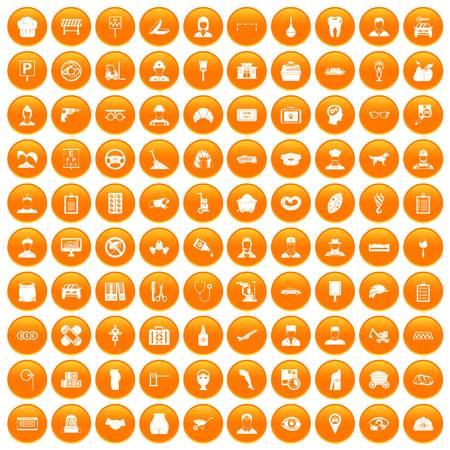 drill: 100 favorite work icons set orange