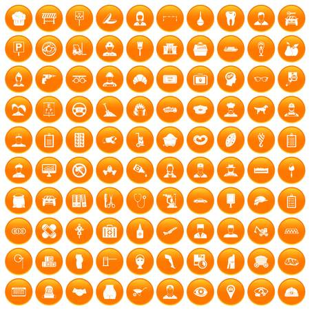 100 favorite work icons set orange