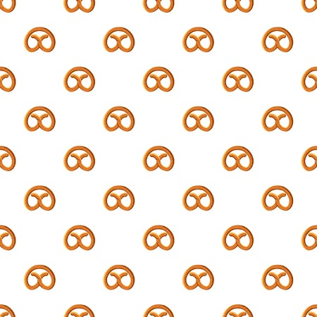Pretzel for Oktoberfest pattern seamless repeat in cartoon style vector illustration