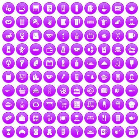 100 kitchen utensils icons set purple 向量圖像