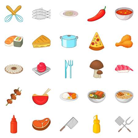 bun: Bakery icons set, cartoon style