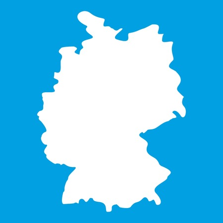 Map of Germany icon white isolated on blue background vector illustration