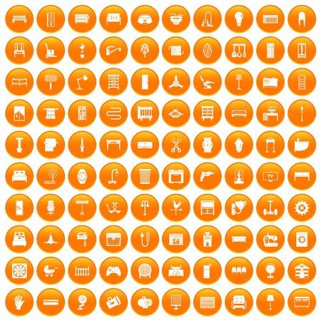 100 furnishing icons set in orange circle isolated vector illustration