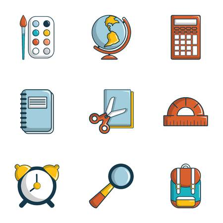 School icons set. Flat set of 9 school vector icons for web isolated on white background