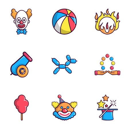 Clown show icons set, flat style