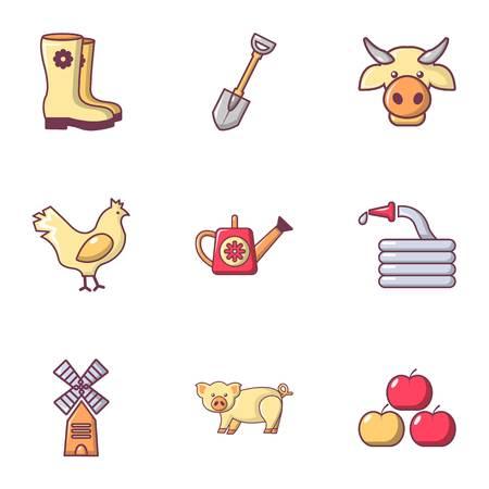 Farmer equipment icons set, flat style Illustration