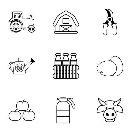 Farmer equipment icons set, outline style Illustration