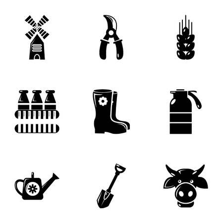 plow: Farmer equipment icons set, simple style