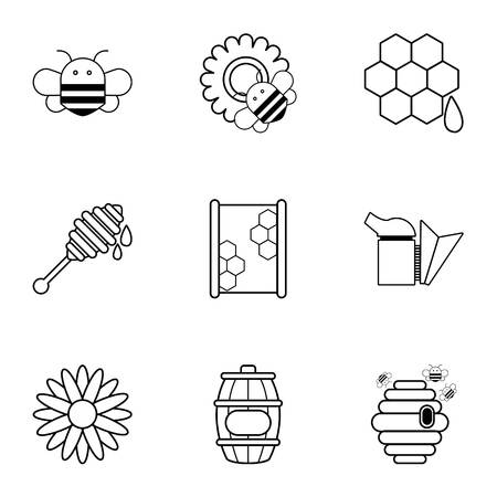 beekeeper: Apiculture icons set, outline style