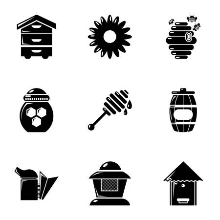 apiculture: Apiculture icons set, simple style