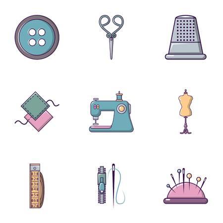 Kleermaker dingen icons set, vlakke stijl
