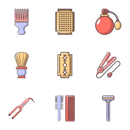 curler: Hairdressing icons set, flat style