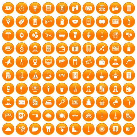 100 hotel services icons set orange. Illustration