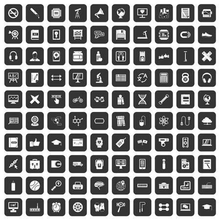 bar magnet: 100 training icons set in black