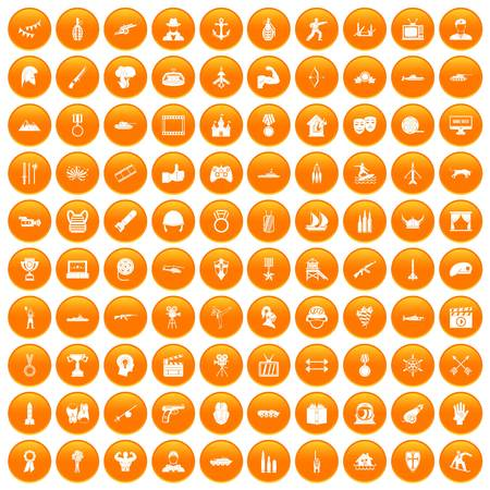 100 hero icons set in orange Illustration
