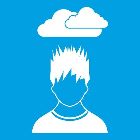 despondency: Depressed man with dark cloud over his head icon