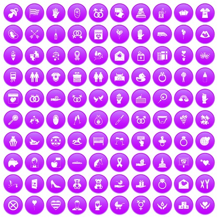 100 love icons set in purple Illustration