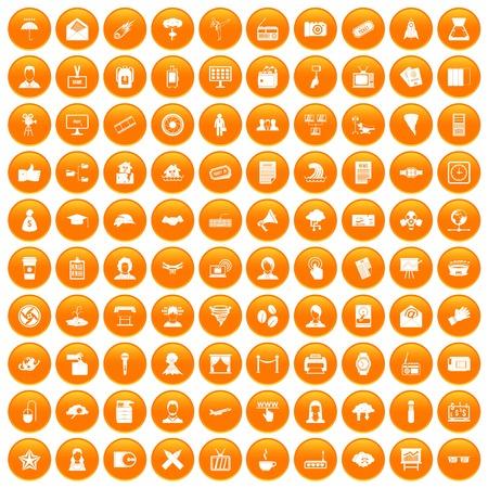 100 journalist icons set orange