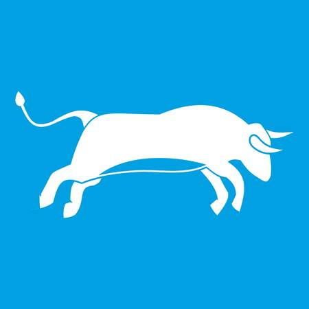 Bull icon white illustration isolated on blue Illustration