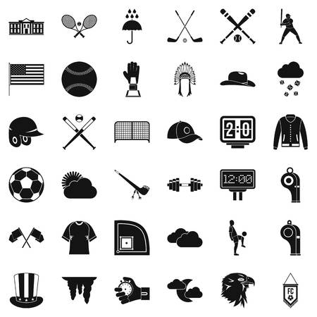 outfield: Various ball sports icons set, simple style illustration Illustration