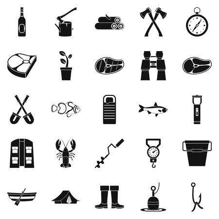 winter grilling: Winter fishing icons set, simple style silhouette illustration