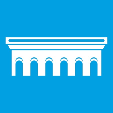 drawbridge: Bridge icon white illustration isolated on blue