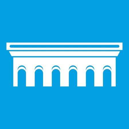 Bridge icon white illustration isolated on blue