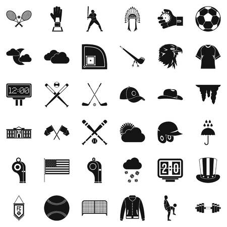 outfield: Various ball sports player icons set, simple style Illustration