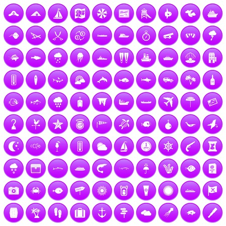 100 marine environment icons set purple