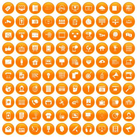 100 information technology icons set orange