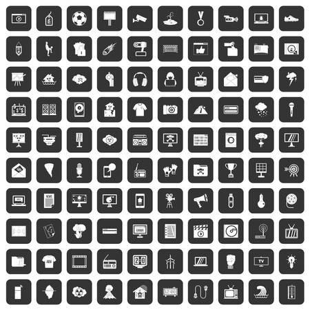 poppers: 100 TV icons set black Illustration