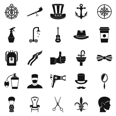 barbershop: Coffee house icons set, simple style