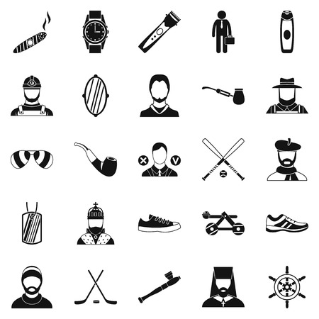 handheld device: Games icons set, simple style Illustration