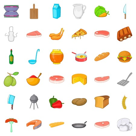 grille: Bbq rest icons set, cartoon style