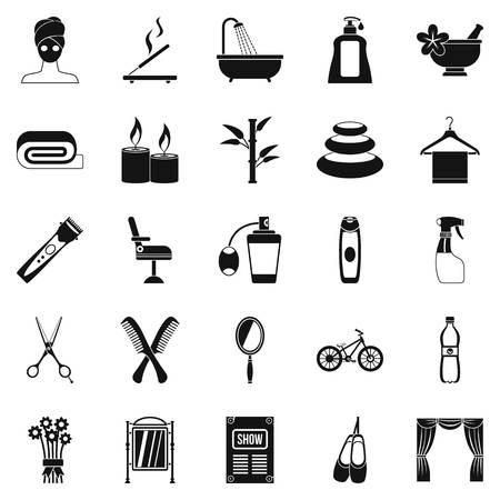Secular reception icons set, simple style Illusztráció