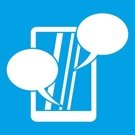 Speech bubble on phone icon white isolated on blue background vector illustration